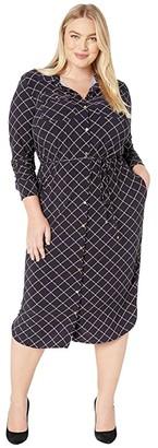 Lauren Ralph Lauren Plus Size Print Jersey Shirtdress (Lauren Navy Multi) Women's Dress