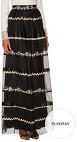 Temperley London Almas Mesh Embroidered Maxi Skirt