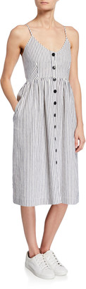 ATM Anthony Thomas Melillo Striped Button-Front Spaghetti-Strap Dress