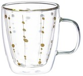 Evergreen Christmas Cafe Cup 12oz Glass w/Metallic Accents