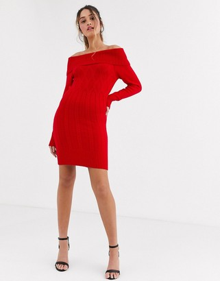 Lipsy off shoulder tunic dress in red