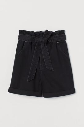 H&M Denim Paper-bag Shorts
