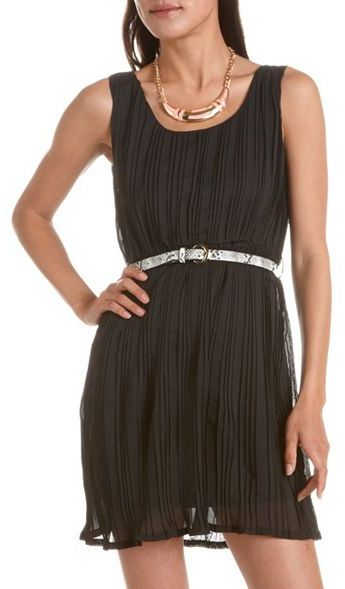 Charlotte Russe Snakeskin Belt Pleated Chiffon Dress