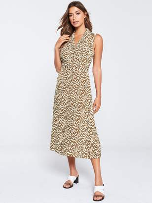 Warehouse Woodcut Utility Shirt Dress - Tan