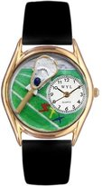 Whimsical Watches Kids' C0820001 Classic Gold Lacrosse Black Leather And Goldtone Watch