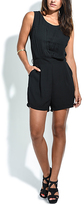 Solange Black Pleated Sleeveless Romper