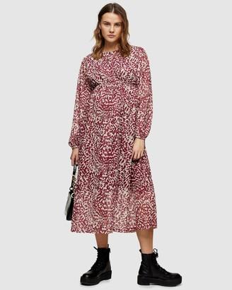 Topshop Maternity Animal Print Smock Midi Dress