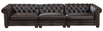"Altura Genuine Leather Chesterfield 139"" Rolled Arm Sofa Darby Home Co"