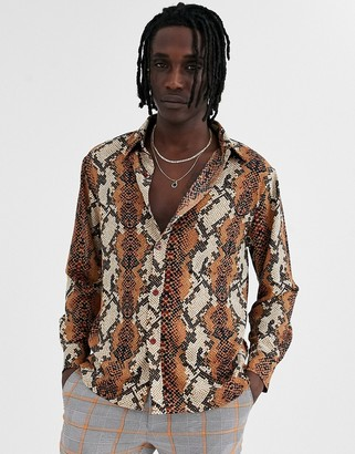 Sacred Hawk long sleeve shirt in rust snakeskin print