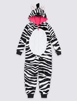 Marks and Spencer Zebra Print Hooded Onesie (1-16 Years)