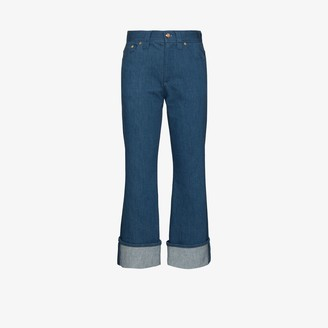 Chloé Turn-Up Kick Flare Cropped Jeans