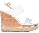 Hogan wedged sandals - women - Cork/Leather/Straw/rubber - 37