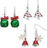 Christmas Tree, Snowflake & Jingle Bell Drop Earring Set
