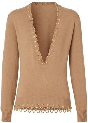 Burberry Cashmere Chain-Trim Knit Sweater