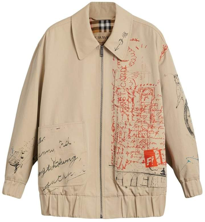Burberry postcard print tropical gabardine harrington jacket