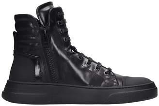 Bruno Bordese Bike Hi Sneakers In Black Leather