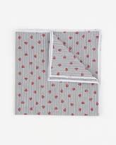 Le Château Stripe & Floral Print Cotton Pocket Square