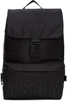 MSGM Black Nylon Snap Backpack