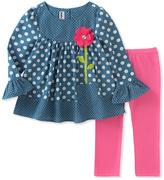 Kids Headquarters Blue Polka Dot Tunic & Pink Leggings - Infant, Toddler & Girls