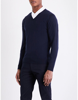 John Smedley Men's Midnight Blenheim V-Neck Merino Wool Jumper, Size: L