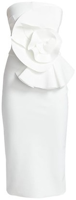 Chiara Boni Hebe Strapless Ruffle Sheath Dress