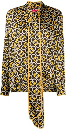 F.R.S For Restless Sleepers Geometric Print Scarf Neck Blouse