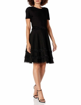 Milly Women's Cut Fringe Fit and Flare Dress with Short Sleeves