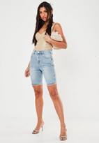 Missguided Blue Long Length Denim Shorts