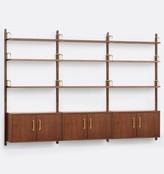 Rejuvenation Hart Modular Walnut Triple Shelving Unit with Three Cabinets