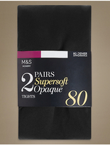 M&S Collection 2 Pair Pack 80 Denier Supersoft Opaque Tights