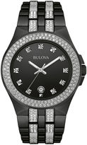 Bulova Crystal Mens Crystal-Accent Black Stainless Steel Watch 98B251