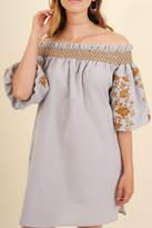 Umgee USA Embroidered Grey Dress