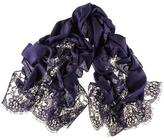 Black Navy Cashmere and Chantilly Lace Shawl