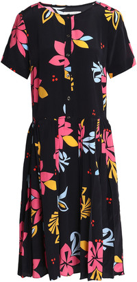 Chinti and Parker Pleated Floral-print Silk Dress