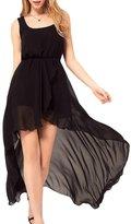Moonpin Women's Elegant Sleeveless High Low Chiffon Holiday Swing Dress S