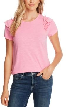 CeCe Ruffled-Shoulder T-Shirt