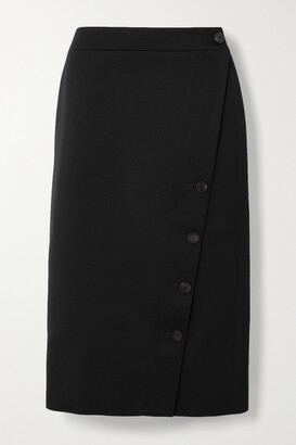 BALENCIAGA - Wool-twill Midi Skirt - Black