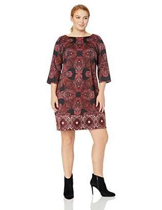 London Times Women's Plus Size 3/4 Sleeve Ponte Shift Dress