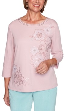 Alfred Dunner Petite St. Moritz Monotone Embroidered Flowers Top