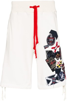 Greg Lauren x Paul & Shark appliqued track shorts