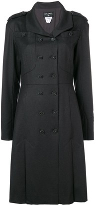 Chanel Pre Owned 2009 Box Pleats Flared Coat