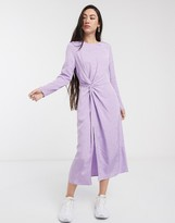 And other stories & leaf print midi dress in lilac jacquard