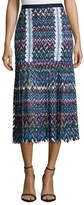 Saloni Diana C Chevron Lace Midi Skirt, Multicolor