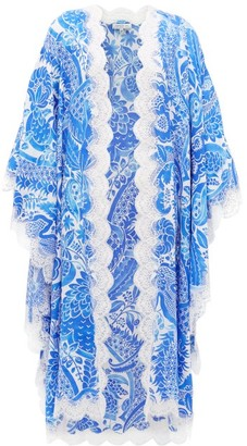 Andrew Gn Floral-print Lace-edge Silk Robe - Blue