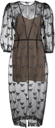 Fleur Du Mal Embroidered Butterfly Midi Dress