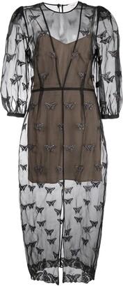 Fleur Du Mal embroidered butterfly midi dress