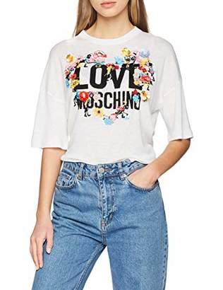 Love Moschino Women's Multicolored Flowers and Logo_Knitted T-Shirt (Optical White A), 10 (Size: )