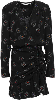Veronica Beard Anders Silk-blend Jacquard Mini Wrap Dress