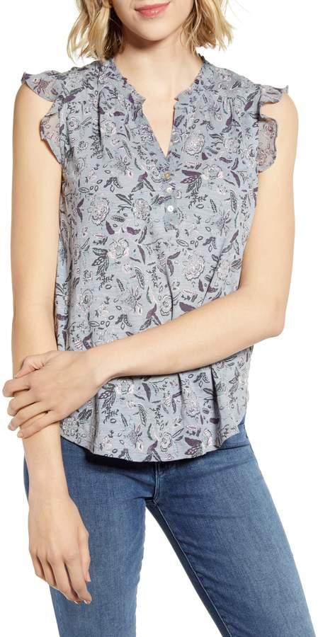 f2c73d7224d Purple Flutter Sleeve Tops - ShopStyle