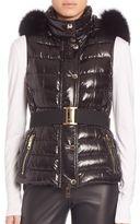 Burberry Fur-Hood Willowbank Wet Quilted Vest